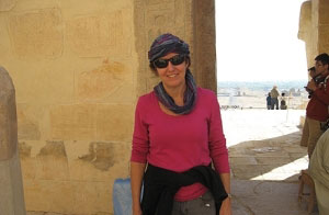Karen McCormick at a temple in Luxor, Egypt